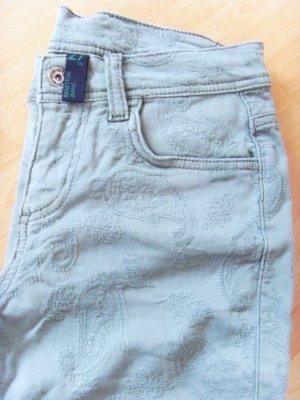*NEU* Benetton Skinny Jeans Röhre Khaki Paisley Stickerei W 27 Gr. 36 S