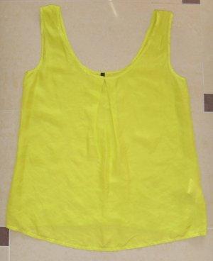 *NEU* Benetton Top Bluse Tunika Seide edel Neon Gelb boho Raffung Gr. XS 34