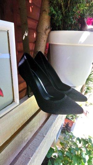 NEU ! Bershka Pumps Weihnachten Silvester Glanz schwarz High Heels