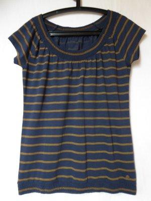 NEU: Besonderes, dunkelblau-braun-gestreiftes T-Shirt von QS (S.Oliver)
