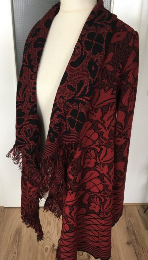NEU Best Connections Fransen Cardigan XS 34 Rot Schwarz Blumen Muster Strickjacke Winterpulli