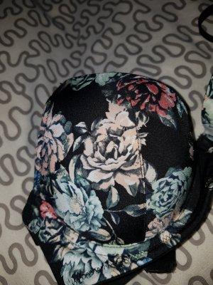 Neu! Bh schwarz Blumen 75b