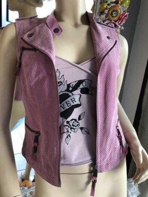 Biba Leren vest rosé
