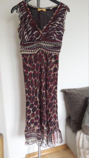 Neu Biba Sommerkleid Kleid Maxikleid Hippiekleid Empirekleid Animal Print S Rot