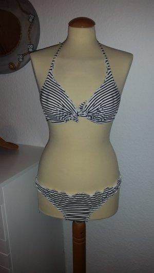 NEU Bikini weiß blau gestreift 38/40 H&M Neckholder
