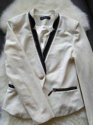 -NEU- Blazer Anzugsjacke Sako Gr.36 S/ Farbe schwarz/weiß/ mit Schulterpolstern und goldenen Knöpfen