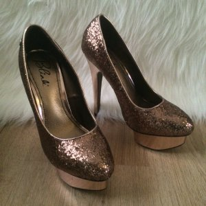 Neu Blink Luxus High Heels Pumps Gr.37 Bronze Glitzer