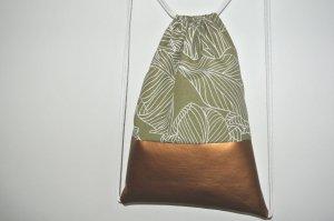 Neu - Blogger Turnbeutel Gym Bag Rucksack Blätter geometrisch Kupfer Metallic Leder -