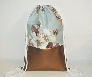 Neu - Blogger Turnbeutel Gym Bag Rucksack Blumen Kupfer Leder -