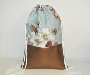 Neu - Blogger Turnbeutel Gym Bag Rucksack Blumen Rosen Kupfer Leder -
