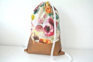Neu - Blogger Turnbeutel Gym Bag Rucksack Blumen Rosen Kupfer Metallic Leder -