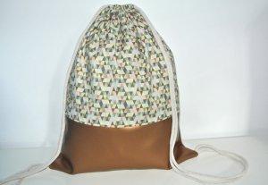 Neu - Blogger Turnbeutel Gym Bag Rucksack bunt Kupfer Leder -