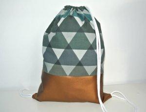 Neu - Blogger Turnbeutel Gym Bag Rucksack Dreiecke geometrisch Kupfer Metallic Leder -