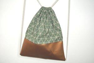 Neu - Blogger Turnbeutel Gym Bag Rucksack geometrisch Kupfer Leder -