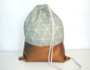 Neu - Blogger Turnbeutel Gym Bag Rucksack geometrisch Kupfer Metallic Leder -