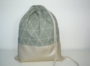 Neu - Blogger Turnbeutel Gym Bag Rucksack geometrisch Perlmutt Leder -