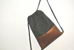 Neu - Blogger Turnbeutel Gym Bag Rucksack grau Kupfer Leder -
