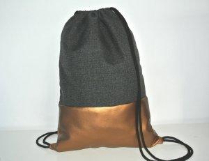 Neu - Blogger Turnbeutel Gym Bag Rucksack grau Kupfer Metallic Leder -