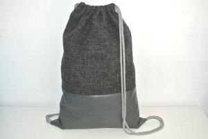 Neu - Blogger Turnbeutel Gym Bag Rucksack grau Leder -
