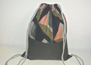Neu - Blogger Turnbeutel Gym Bag Rucksack grau Leder geometrisch -