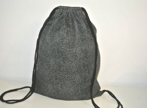 Neu°Blogger Turnbeutel Gym Bag Rucksack grau schwarz Tweed°