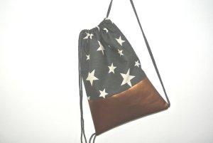 Neu - Blogger Turnbeutel Gym Bag Rucksack grau Sterne Kupfer Leder -