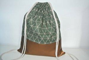 Neu - Blogger Turnbeutel Gym Bag Rucksack grün geometrisch Kupfer Metallic Leder -
