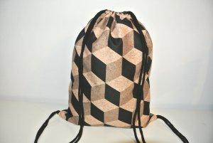 Neu°Blogger Turnbeutel Gym Bag Rucksack Kork schwarz geometrisch°
