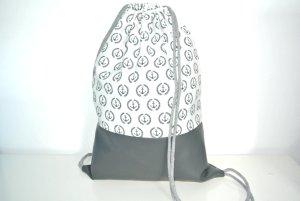 Neu - Blogger Turnbeutel Gym Bag Rucksack Maritim Anker Monogramm grau Kunstleder -