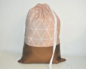 Neu - Blogger Turnbeutel Gym Bag Rucksack Nude geometrisch Kupfer Leder -