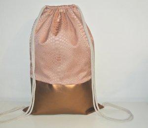 Neu - Blogger Turnbeutel Gym Bag Rucksack Nude Kupfer Leder -