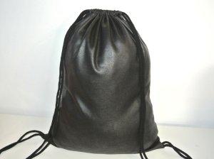 Neu°Blogger Turnbeutel Gym Bag Rucksack schwarz Leder Optik  °