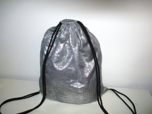 Neu°Blogger Turnbeutel Gym Bag Rucksack silber grau metallic°
