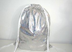 Neu - Blogger Turnbeutel Gym Bag Rucksack silber holographisch -