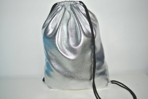 Neu - Blogger Turnbeutel Gym Bag Rucksack silber Metallic-