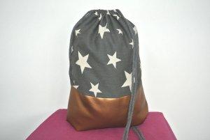 Neu - Blogger Turnbeutel Gym Bag Rucksack Sterne Kupfer Leder -