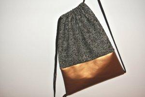 Neu - Blogger Turnbeutel Gym Bag Rucksack Tweed Kupfer Leder -