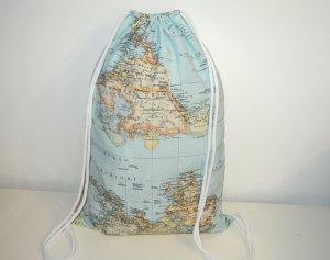 Neu°Blogger Turnbeutel Gym Bag Rucksack Weltkarte Travel the world°