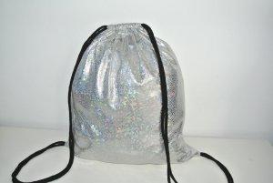 Neu°Blogger Turnbeutel Rucksack silber glänzend holographisch°