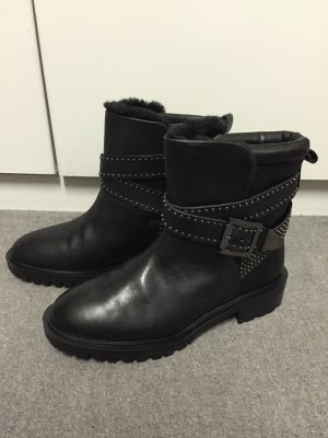 Neu! Blogger Zara Lederstiefeletten Biker Boots Nieten 37