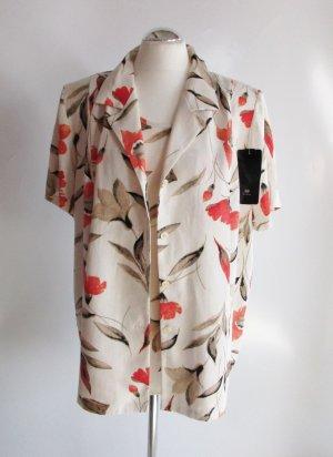 NEU Bluse Jacke CANDA Größe 48 Leinen Natur Mohnblumen Blüten Hemd Oversize Shirt Viskose Leinenbluse