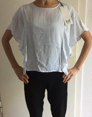 Zara Blouse à manches courtes bleu clair-blanc