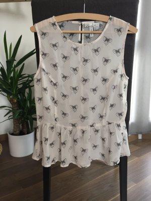 NEU Bluse Top Shirt kurz Sommer Peplum Schößchen Gr. 38 H&M NEU rosa rosé hellrosa creme nude gemustert Schleifen Muster ärmellos