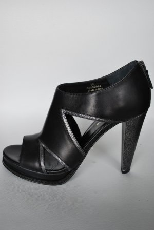 Strapped High-Heeled Sandals silver-colored-black leather