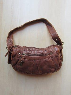 NEU: Braune Handtasche in Leder-Optik mit Blumen-Zipper