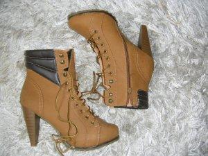 neu, braune Stiefeletten, High Heels,Pumps, Queentina, Gr. 39