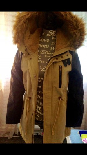 Neu braune Winterjacke mit Leder- Applikationen Gr Xs/S