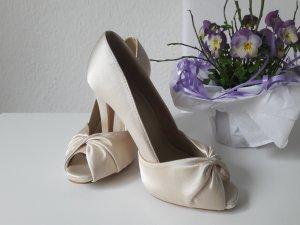 Neu Brautschuhe Gr 36 Ivory Peeptoe beige Hochzeitsschuhe