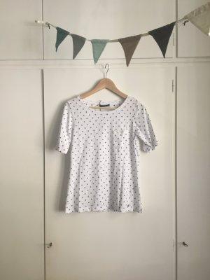 NEU Brax | Shirt | Bluse | Polka Dots | Weiß mit dunkelblauen Punkten | Pailletten | Gr. 36