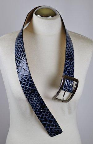 Neu Breit Kroko Snake Leder Gürtel Gardeur Größe 80 Blau Lack Schwarz Silberfarbene Metall Schließe Schnalle Schlange Riemen Python Formgürtel